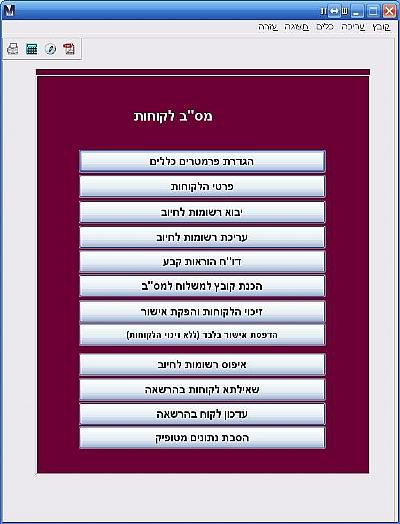 """צילום מסך של עמוד מס""""ב בתוכנה לניהול גבייה מנג'ר פרימיום"""