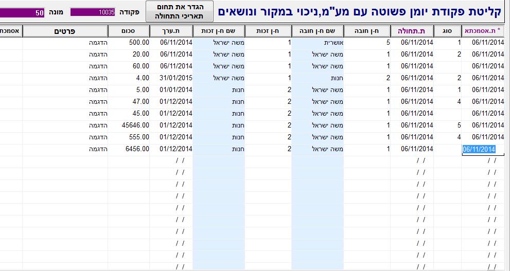 מסך פקודות יומן בתוכנת הנהלת חשבונות מנג'ר פרימיום